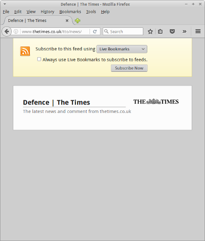 A screenshot showing a Firefox tab displaying the following URL: http://www.thetimes.co.uk/tto/news/uk/defence/rss